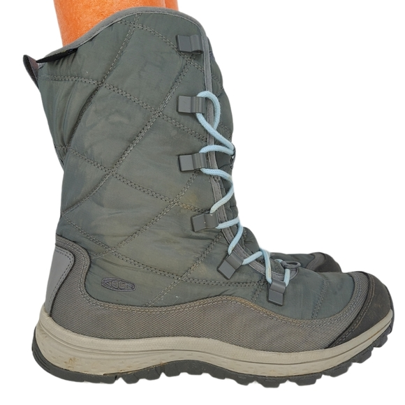 Keen Womens Gray Lace Up Dry Waterproof Boots Sz 7